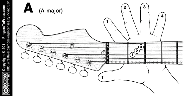 photo relating to Printable Guitar Chords Chart With Finger Numbers titled Palms in the direction of Frets: Visible Guitar Chord Charts